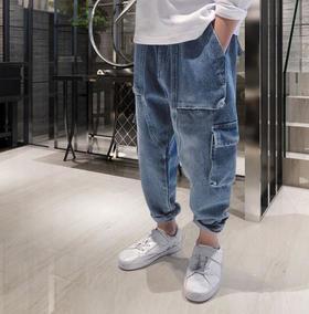 【童装】新款中大童牛仔工装裤
