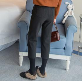 【休闲裤】秋冬毛呢哈伦裤女宽松休闲萝卜裤大码加厚高腰直筒九分裤