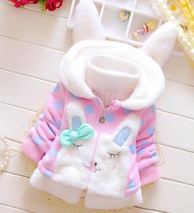 【童装】冬款加绒圆点兔耳朵连帽外套