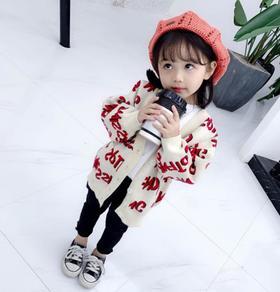 【童装】小身材时尚淑女风可爱字母毛衣外套