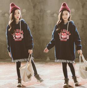 【童装】韩版双层加绒拼色印字母连帽A字卫衣裙印