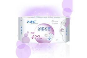 【京东】ABC 亲柔立围 棉柔表层 0.1cm轻透薄超长夜用卫生巾420mm*3片(舒适防侧漏)【个护清洁】