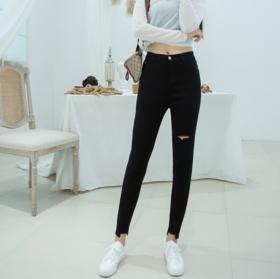 【休闲裤】2019韩版秋冬季破洞打底裤女外穿高腰休闲裤