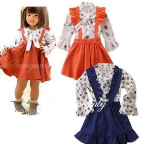 【童装】洋气淑女ins新款两色长袖印花女童橘色背带裙子两件套