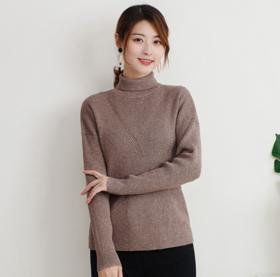 【针织衫】2019秋季新款羊毛女士针织衫中高领长袖毛衣女宽松打底衫