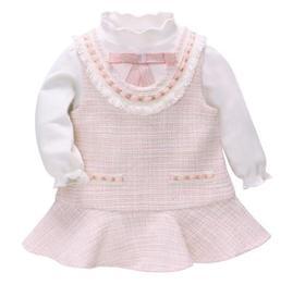 【童装】秋新款女童小香风套装连衣裙打底衫两件套