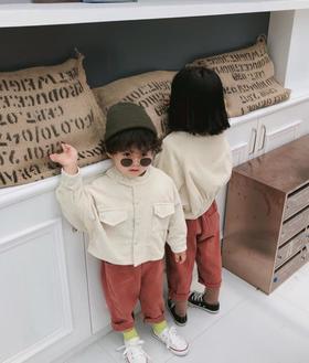 【童装】秋季新款韩版男女童儿童泡泡短款灯芯绒夹克外套