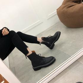 【顺丰包邮】【3-7天发货】女士马丁靴 高帮鞋 秋款单靴荔枝纹牛皮靴