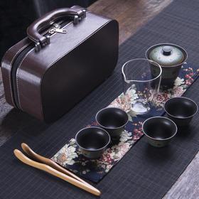 黑陶旅行茶具套装便携包功夫茶具4人日式简约迷你茶人行囊小套