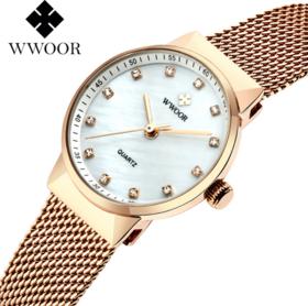 【女士手表】女士网带石英手表 水钻贝壳面 时尚女表