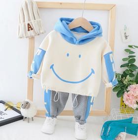 【童装】新款韩版笑脸卡通复合绒套装