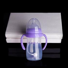 【婴儿用品】可拉贝拉婴儿食品级PP塑料奶瓶宽口径带手柄吸管防胀气