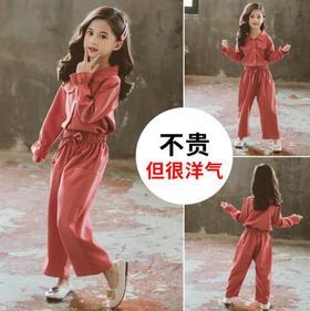 【童装】秋季新款韩版中大童衬衫裤子两件套