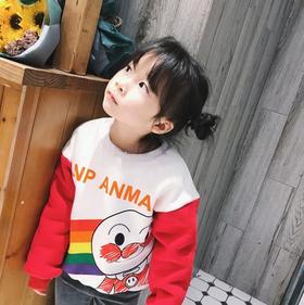 【童装】爆款男女童彩虹面包人加绒加厚卫衣