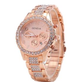 【女士手表】女士手表满天星钢带套装三眼镶钻女日历石英手表