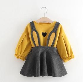 【童装】新款韩版女童背带裙子两件套