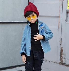 【童装】秋装新款洋气酷韩版刺绣中大童牛仔衣