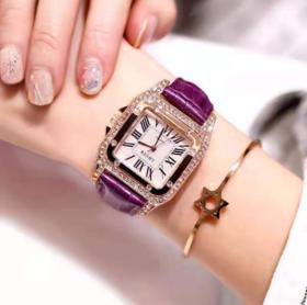 【女士手表】新款时尚腕表简约方形潮流女式表水钻石英表小巧学生女士手表