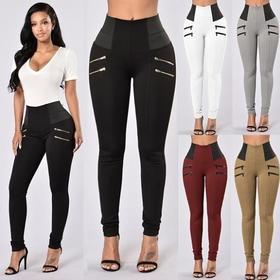 【打底裤】新款爆款高腰拉链裤紧身休闲纯色提臀修身打底裤