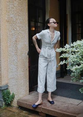 针织白色中式风格经典连体裤