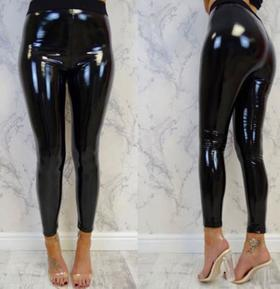 【打底裤】欧美外贸反光性感提臀皮裤弹力高腰打底裤