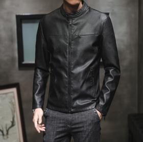 【男装】青年皮衣男潮秋冬季加绒机车外套韩版潮帅皮夹克