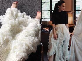 蕾丝针织瀑布鸵鸟裙