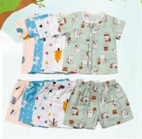 【婴儿用品】儿童纱布睡衣夏季薄款男女孩3-6-9岁家居服男女童空调服薄款套装
