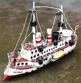 【装饰品】美式复古海军手工铁艺船模型装饰品摆件