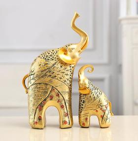 【装饰品】树脂工艺品欧式仿古母子象摆件