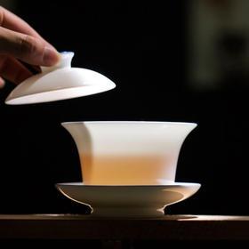盖碗单个不烫手茶杯白瓷薄胎三才大号泡茶功夫茶具手绘景德镇