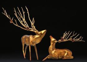 【装饰品】铜鹿玄关办公桌摆设礼品家装软装工艺品
