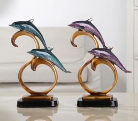 【装饰品】欧式树脂工艺品海豚摆件