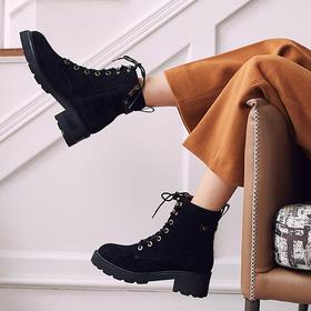 【为舒适而生】WAYNE FLEX 韦恩 6127-鹿皮内里 欧美风新款短靴 系带 粗跟马丁靴 女