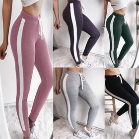 【打底裤】 爆款热销 女士拼色修身运动弹性透气高腰打底裤