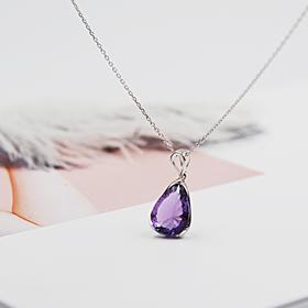 925纯银天然紫水晶项链