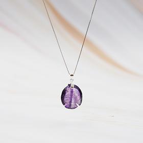 925纯银天然紫水晶雕鱼项链