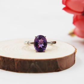 s925纯银天然紫水晶戒指