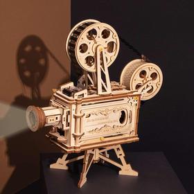 若客手工DIY拼装木制模型 放映机  机器人 八音盒 立体拼图玩具 生日礼物