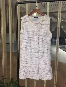 预售 MAISON COVET自有品牌 粗花呢裙摆背心裙