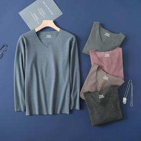 德绒黑科技 激光切割 冬男士长袖无痕保暖上装打底衫V领纯色 E849