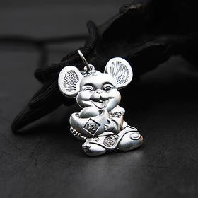 鼠你好运*999足银立体雕刻老鼠吊坠