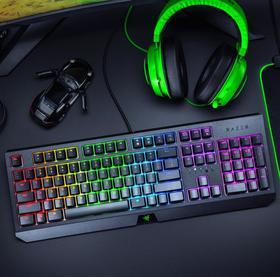 【机械键盘】Razer BlackWidow雷蛇黑寡妇蜘蛛幻彩版游戏机械键盘电竞发光绿轴