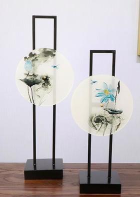 【装饰品】新中式铁艺水墨圆盘摆件
