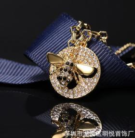 【首饰】蜜蜂项链奥地利水晶可爱女锁骨链精致蜜蜂镶钻饰品