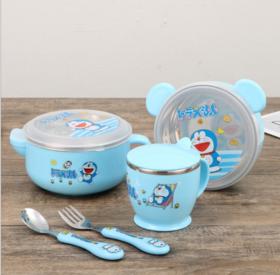 【婴儿用品】婴幼儿304不锈钢餐具礼盒带叉勺水杯宝宝小碗五件套