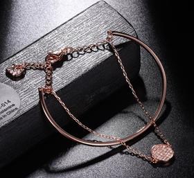 【首饰】手镯女时尚气质镶钻水晶二合一双层手链圆形手环饰品
