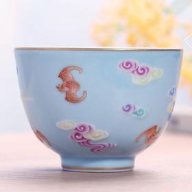 宝瓷林 天青雕刻洪福齐天直口杯