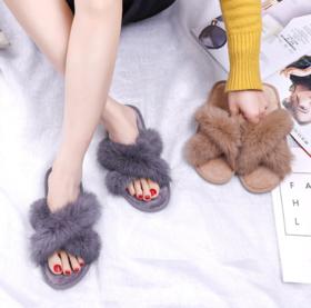 【拖鞋】新款春秋交叉兔毛拖鞋女 软底居家女士拖鞋 真兔毛拖鞋