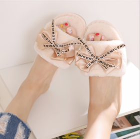 【拖鞋】新款女士室内棉拖鞋 秋冬毛绒拖鞋 可爱蝴蝶结毛拖鞋